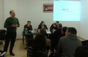 Víctor Dominguéz, responsable de acción poítica de Esquerra Unida del País Valencià, en su saludo a la Asamblea